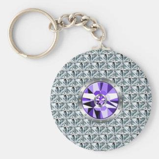 Purple Diamonds Pattern And White Gold Basic Round Button Key Ring