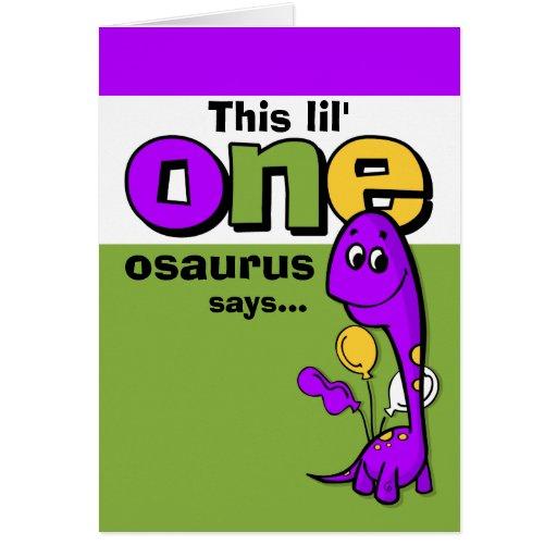 Purple Dinosaur 1st Birthday Thank You Card