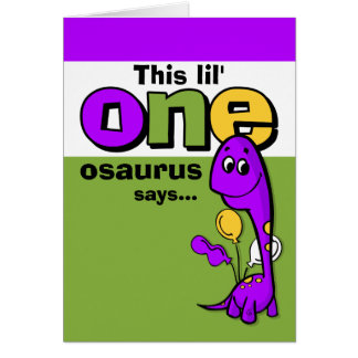 Purple Dinosaur 1st Birthday Thank You Note Card