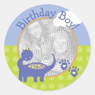 Purple Dinosaur Birthday Boy with Dots Photo Round Sticker