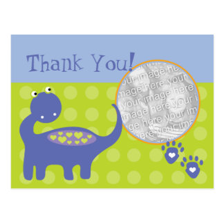 Purple Dinosaur Birthday Photo Thank You Postcard
