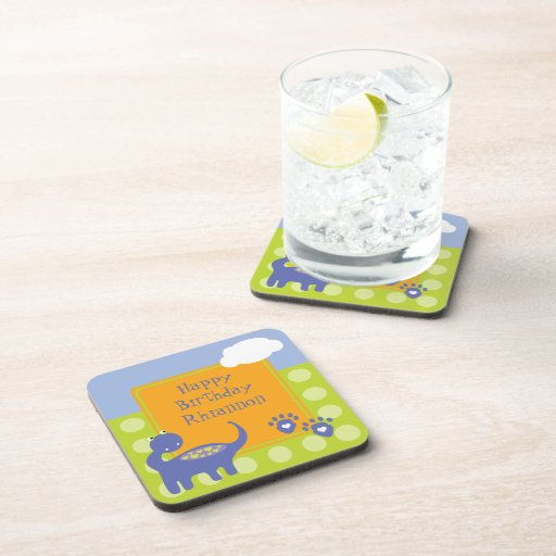 Purple Dinosaur Birthday with Dots Beverage Coaster