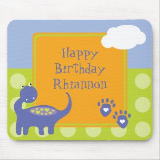 Purple Dinosaur Birthday with Dots Mousepad