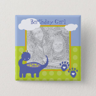 Purple Dinosaur Birthday with Dots Photo 15 Cm Square Badge