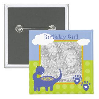 Purple Dinosaur Birthday with Dots Photo 15 Cm Square Badge