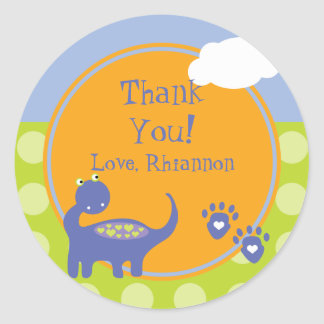 Purple Dinosaur Birthday with Dots Thank You Classic Round Sticker