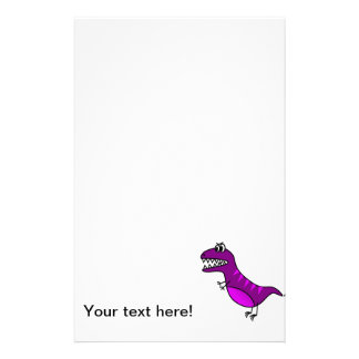 Purple dinosaur cartoon custom stationery