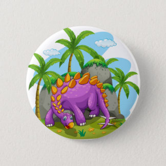 Purple dinosaur standing on the ground 6 cm round badge