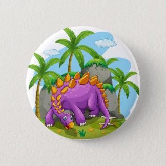 Purple dinosaur standing on the ground 6 cm round badge