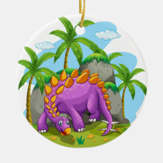 Purple dinosaur standing on the ground christmas ornament