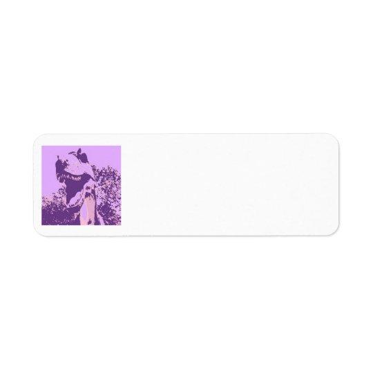 Purple Dinosaur T-Rex Return Address Label