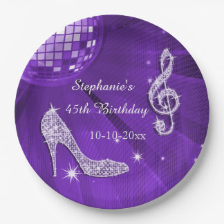 Purple Disco Ball and Heels 45th Birthday 9 Inch Paper Plate