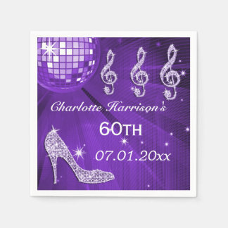 Purple Disco Ball and Sparkle Heels 60th Disposable Serviette