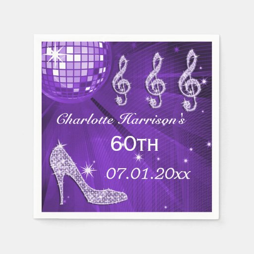 Purple Disco Ball and Sparkle Heels 60th Disposable Napkin