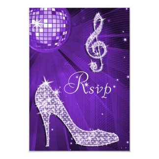 Purple Disco Ball Sparkle Heels RSVP Card