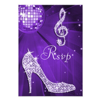 Purple Disco Ball Sparkle Heels RSVP Announcement