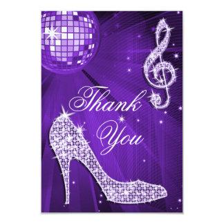 Purple Disco Ball Sparkle Heels Thank You 9 Cm X 13 Cm Invitation Card