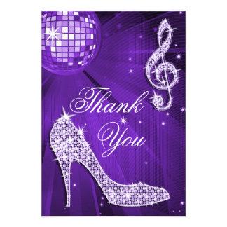 Purple Disco Ball Sparkle Heels Thank You Invites