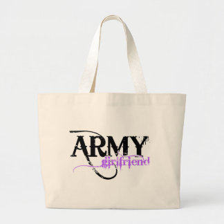 Purple Distressed Lettering Army Girlfriend Jumbo Tote Bag