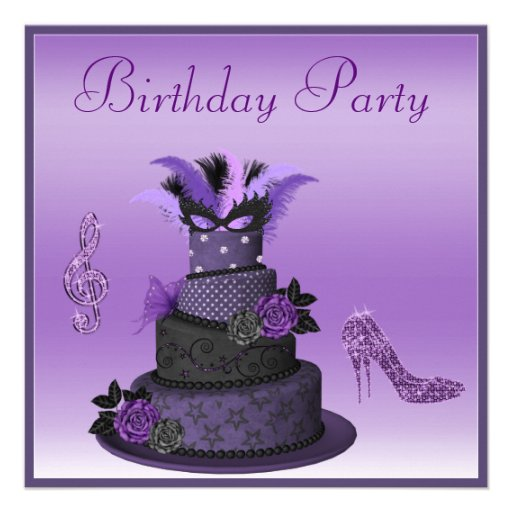 Purple Diva Cake, Sparkle High Heels Birthday Personalized Announcements