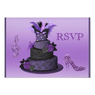 Purple Diva Cake, Sparkle High Heels RSVP 3.5x5 Paper Invitation Card