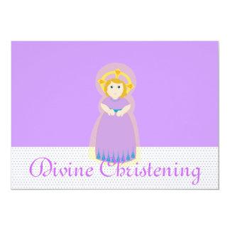 Purple Divine Christening Invitation-Customize 13 Cm X 18 Cm Invitation Card