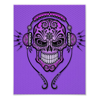 Purple DJ Sugar Skull Poster