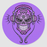 Purple DJ Sugar Skull Round Sticker