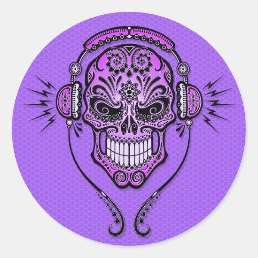 Purple DJ Sugar Skull Round Sticker