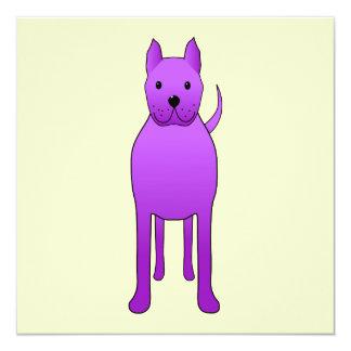 Purple Dog 13 Cm X 13 Cm Square Invitation Card