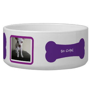 Purple Dog Bone Photo Personalized Pet Bowl