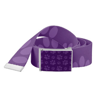 Purple dog paw print pattern belt