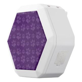 Purple dog paw print pattern white boombot rex bluetooth speaker
