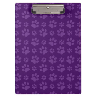 Purple dog paw print pattern clipboard