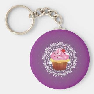 Purple Doilies and Cupcake Basic Round Button Keychain