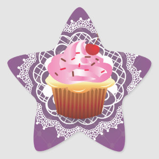 Purple Doilies and Cupcake Star Sticker