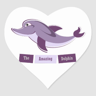 Purple Dolphin Heart Sticker
