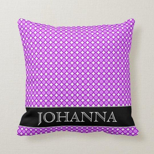 Purple Dots/Circles Pattern + Custom Name Pillow