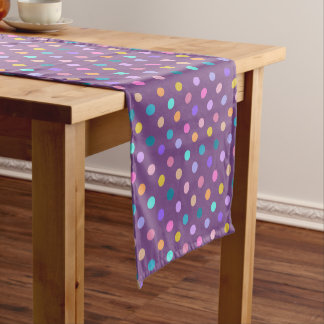 Purple dots of color confetti print table runner