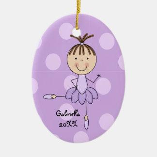 Purple Dots & Purple  Ballerina Christmas Ornament