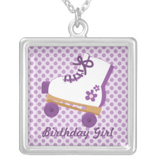 Purple Dots Roller Skate Birthday Girl Necklace
