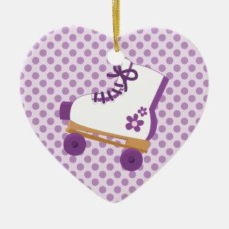 Purple Dots Roller Skate Birthday Heart Ornament
