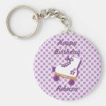 Purple Dots Roller Skate Birthday Keychain