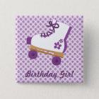 Purple Dots Roller Skate Birthday Square Button