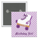 Purple Dots Roller Skate Birthday Square Button
