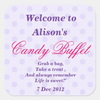 Purple Dotty Candy Buffet Party Sticker