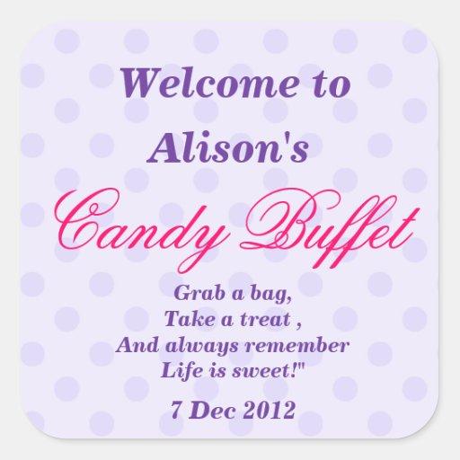 Purple Dotty Candy Buffet  Sticker