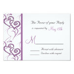 Purple Double Hearts Swirl Vines Wedding RSVP 9 Cm X 13 Cm Invitation Card