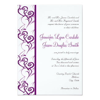 Purple Double Hearts Swirls Wedding Invitations