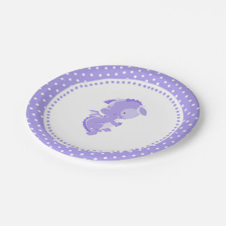 Purple Dragon Birthday Baby Shower Paper Plates